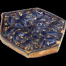 Ilkhanid ladjvardina six-sided tile