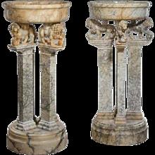 Pair of Italian alabaster jardinieres