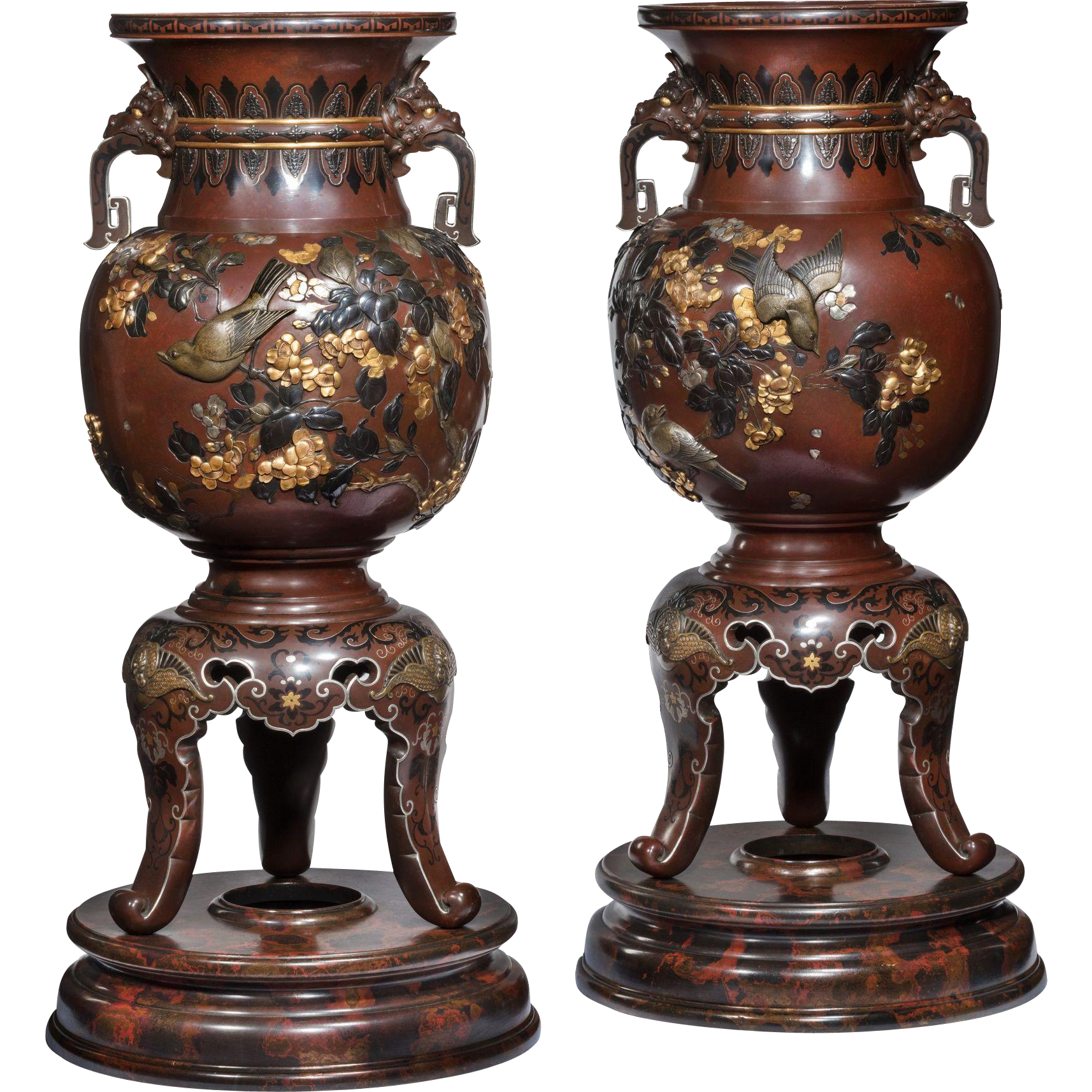 A pair of meiji period rotating bronze and mixed metal vases from a pair of meiji period rotating bronze and mixed metal vases from wick antiques on rubylux reviewsmspy
