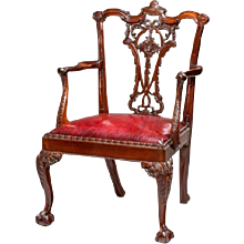 A pair of Victorian mahogany open armchairs in Chippendale taste
