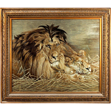 A Meiji Period Silk Embroidery of a Lion and Lioness