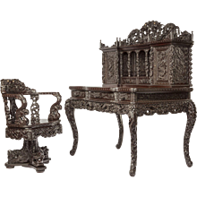 A Meiji period carved hardwood desk and chair made for the Panama California Exposition of 1915-1917