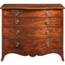 Late George III Mahogany serpentine chest of draws