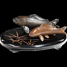 Two Meiji period bronze carp