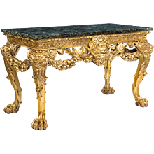 Victorian gilt wood console table in the manner of William Kent