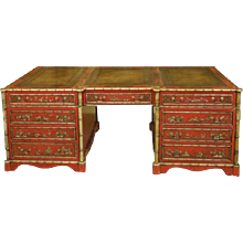 English library pedestal partners desk with chinoiserie decoration overall.