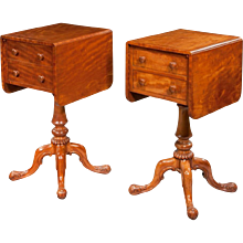 Pair of William lV Satinwood bedside or deception tables