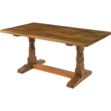 Oak table by Mouseman of Kilburn