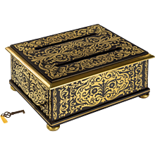 Regency brass-inlaid ebony document box