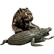 A fine Meiji bronze of a tiger and alligator, signed by Seiya