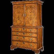 George I burr walnut cabinet on chest