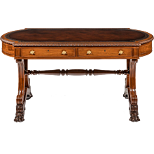 William IV mahogany end support library table