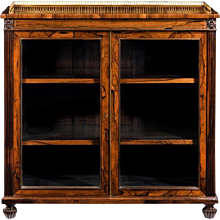 Regency mahogany two door bookcase, decorated with brass inlay and raised on reeded bun feet.