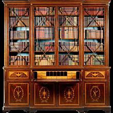 Victorian mahogany Sheraton Revival breakfront bookcase