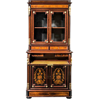 A superb quality Napoleon III kingwood bookcase of unusually small proportions