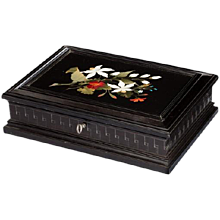 An Italian rectangular pietra dura and ebony box