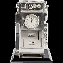 Silver novelty perpetual desk calendar and clock