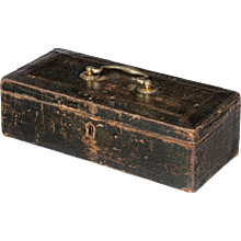 A leather document box belonging to Sir Andrew Hammond