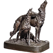 An attractive patinated bronze group of two hounds by Mark Thomas