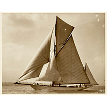 Yacht Lygia, early silver photographic print by Beken of Cowes.