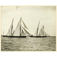 Yacht Galatea, Lorna, Wendur, Margorie, early silver gelatin photographic print by Beken of Cowes.