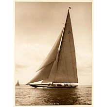 J Class Yacht Sahmrock, silver gelatin photographic print by Beken of Cowes.