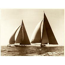 Yacht Candida and Yankee, early silver gelatin photographic print by Beken of Cowes.