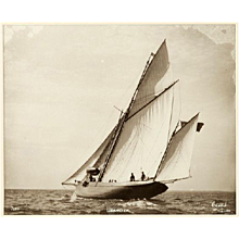 Yacht Leander, early silver photographic print by Beken of Cowes.