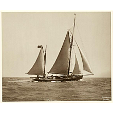 Yacht Palatina, early silver photographic print by Beken of Cowes.