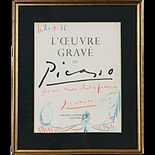 Pablo Picasso Drawing 'Pour Mes Chers Fiancés' 1956