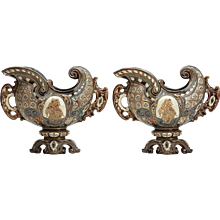Antique Pair Gerbing & Stephan Majolica Console Bowls 19 C.