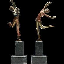 Pair Art Deco Cold Painted Bronze Dancers Josef Lorenzl C.1930