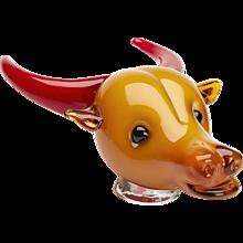 Vintage Murano Glass Ox Head Mario Badioli C.1980