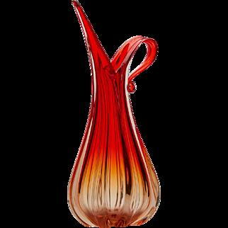 Ercole Barovier & Toso Murano Red Art Glass Pitcher Vase
