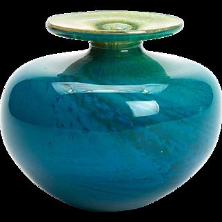 Vintage Mdina Stylish Blue Art Glass Vase 20th C.