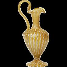 Venetian Zanfirico Ribbon Roman Revival Glass Ewer 19th C.