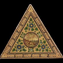 Georgian Triangular Painted Cribbage Board C.1800