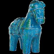 "Italian Aldo Londi ""Rimini Blu"" Bitossi Ceramic Horse C1960"
