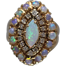 14K Victorian Revival Crystal Opal & Diamond Ring w/ Independent Appraisal