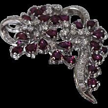 14KT Contemporary Diamond & Brilliant Red Ruby Brooch/ Pendant w/ Appraisal
