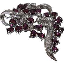 14KT Contemporary Diamond & Brilliant Red Ruby Brooch/ Pendant w/ Appraisal