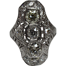 Antique Victorian 2.19 CTW Diamond & Platinum Ring w/ Independent Appraisal