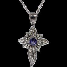 0.50 ct Tanzanite & Diamond Cross Pendant w/ Singapore Link Chain - w/ Appraisal