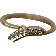 14KT Yellow Gold Cardow Jewelry Two Tone Floating Bypass Diamond Ring