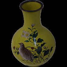 Antique Namikawa Sosuke Meiji Period Cloisonne Vase - Quail & Floral Design