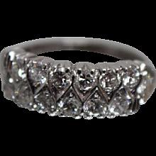 Vintage 1.00 CT Diamond & Platinum Wedding Band/ Ring - w/ Independent Appraisal