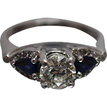 Circa 1900 Vintage Diamond & Blue Sapphire Platinum Ring w/ Independent Appraisal