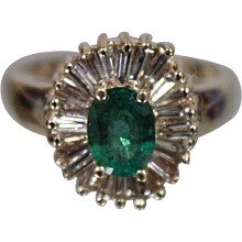 14K Yellow Gold .75 ct Emerald & Baguette Diamond Ring w/ Independent Appraisal