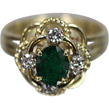 18K Yellow Gold .60 ct Emerald & Diamond Ring w/ Independent Appraisal Nice!