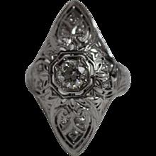 18K White Gold Filigree Diamond Ring - w/ Independent Appraisal